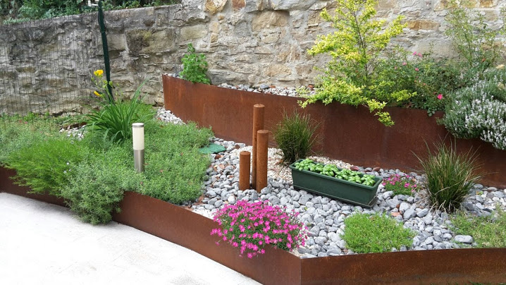 giardino moderno corten